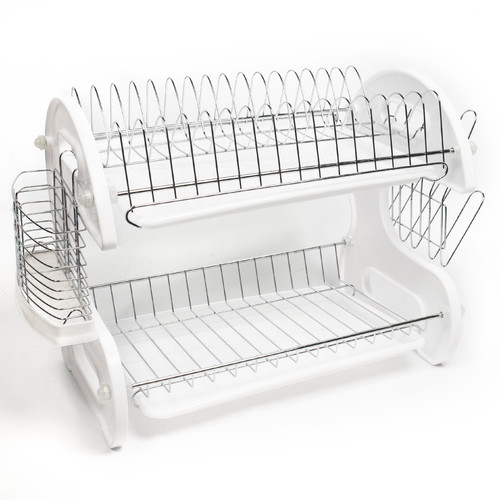 Sweet Home Collection Home Basics 5 Piece 2 Tier Kitchen Sink Dish Drainer Set