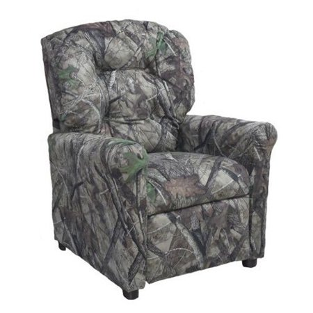 furniture 4 button back child recliner camo gray