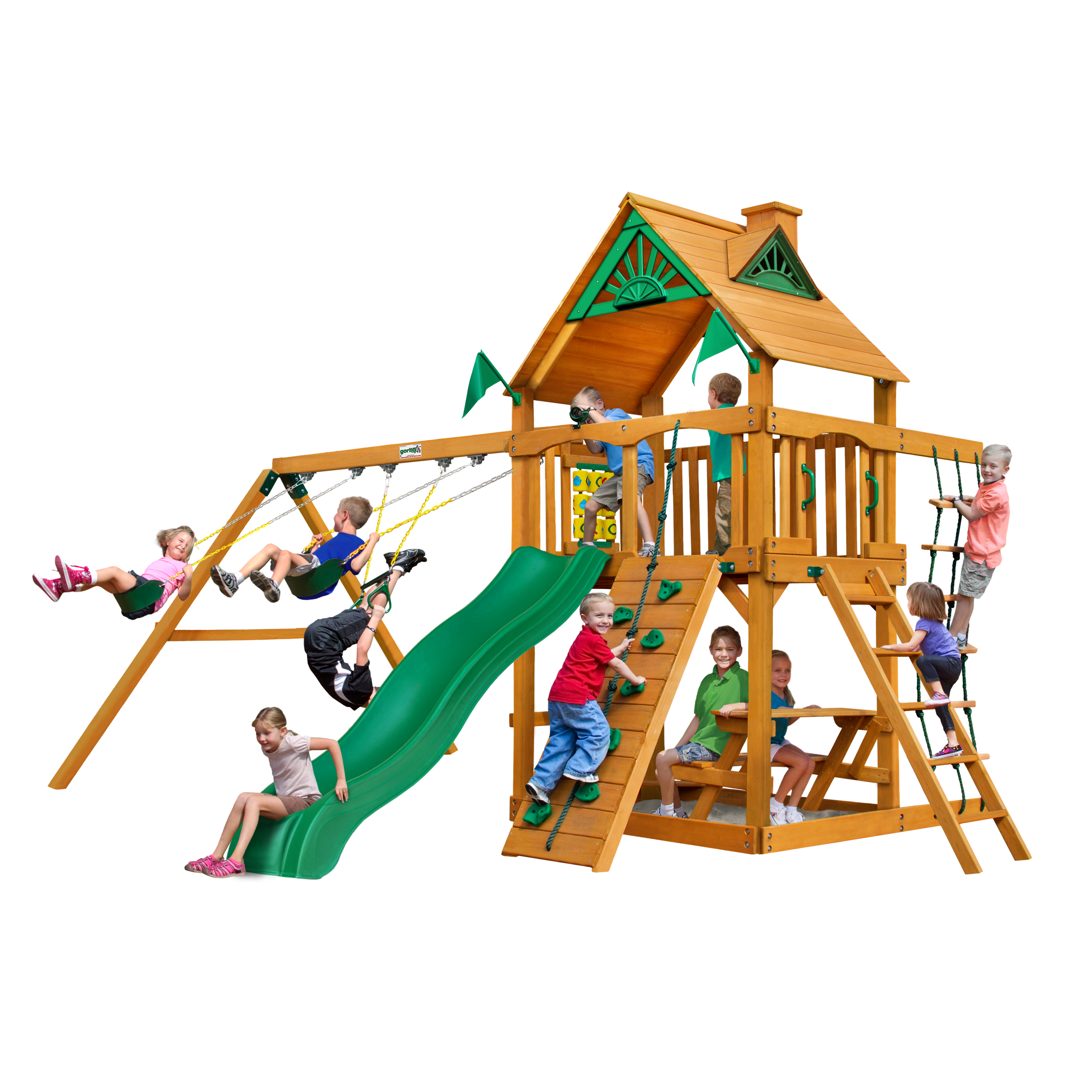 Gorilla Playsets Chateau Wooden Swing Set With Wood Roof Rock