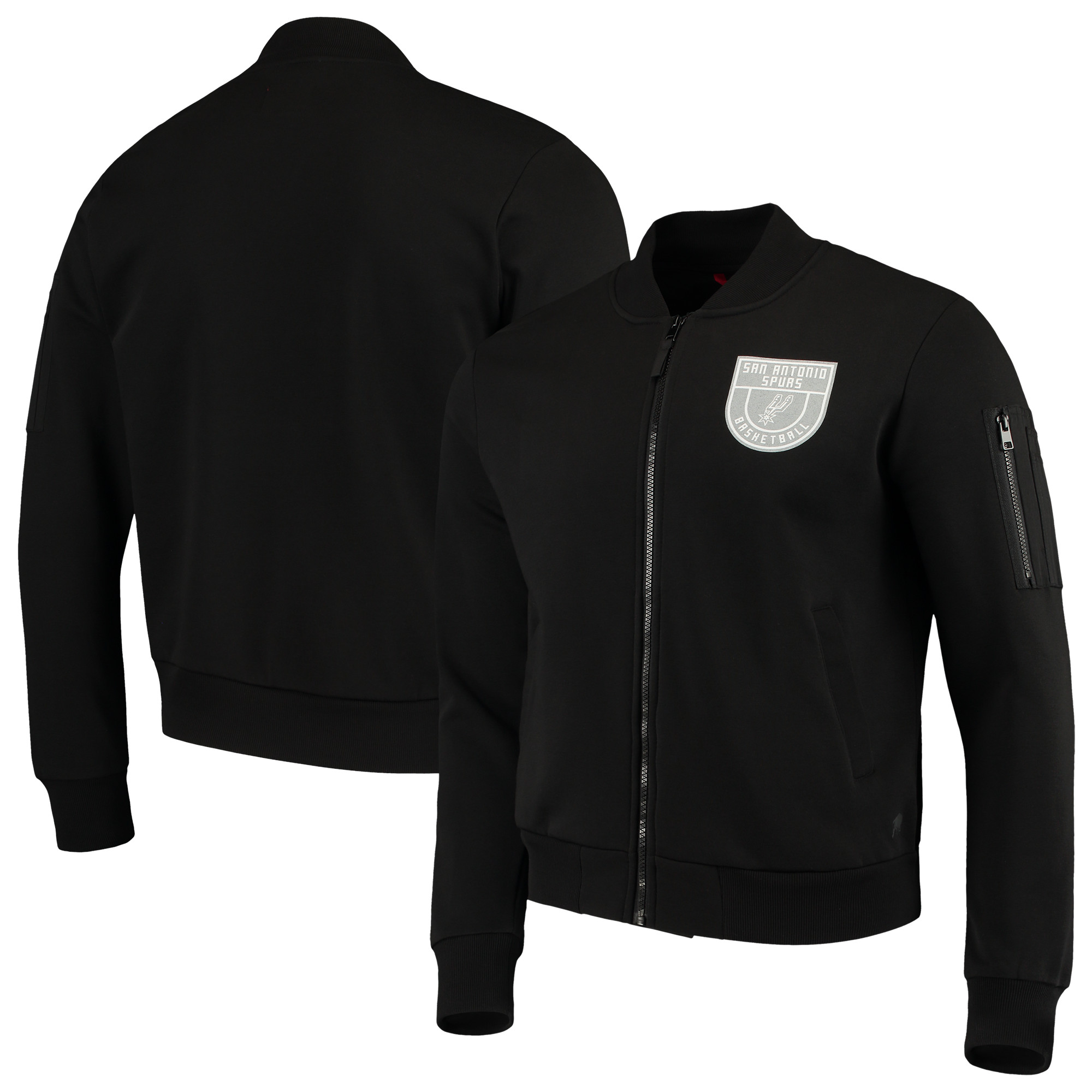 San Antonio Spurs Sportiqe Maverick Fleece Bomber Full-Zip Jacket - Black