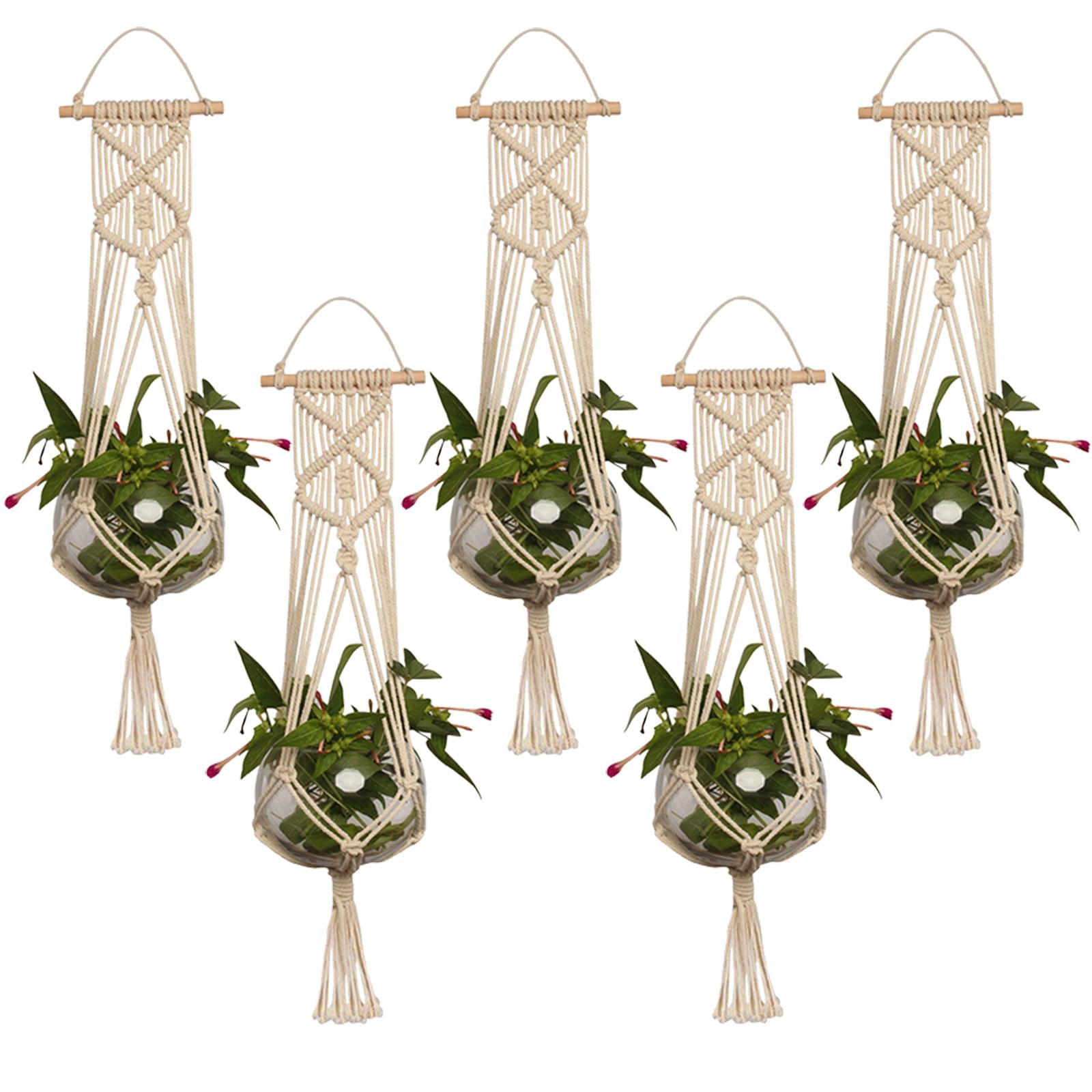 5-pack Macrame Plant Hanger Indoor Outdoor Hanging Planter Basket Jute Cotton Rope Braided Craft, 4 Legs 37 Inch