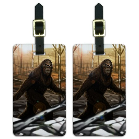 Graphics and More Bigfoot Sasquatch Walking in the Woods Luggage ID Tags Suitcase Carry-On Cards - Set of