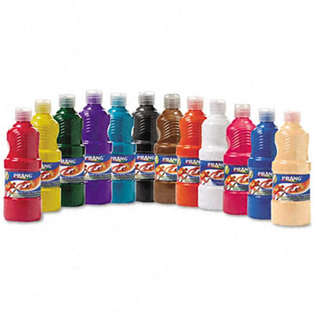 Prang 21696 Ready-to-Use Tempera Paint- 12 Assorted Colors- 16 oz- 12/Pack