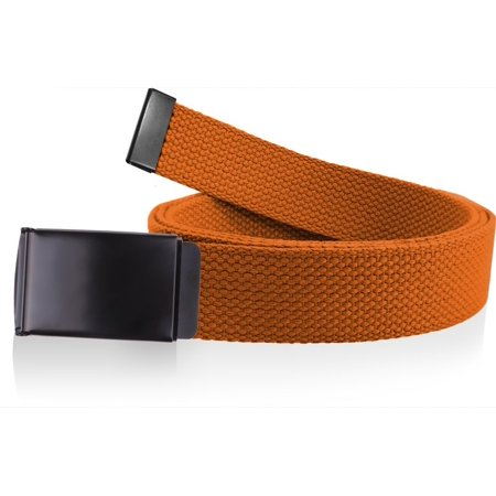Canvas Web Belt Military Grade Cotton Flip-Top Metal Clamp Buckle Cut-To-Fit Orange 56 Inch