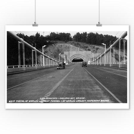 San Francisco, California - West Portal on Bay Bridge Photograph (9x12 Art Print, Wall Decor Travel - Art West Bay