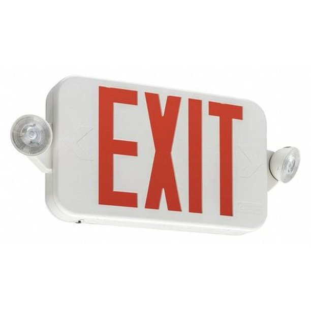 lithonia lighting ecc r m6 exit sign with emergency lights 16 in w 7 1 4 in h