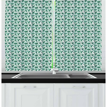 Banana Leaf Curtains 2 Panels Set, Monstera Areca and Fan Palm Leaves in Green Artistic Natural Pattern, Window Drapes for Living Room Bedroom, 55W X 39L Inches, Jade Green White, by Ambesonne Fn Light Curtain