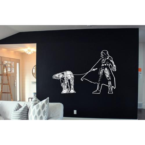 Stickalz llc Darth Vader Walking Atat Star Wars White Sticker Vinyl Wall Art