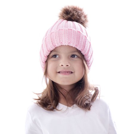 Kids Boys Girls Fur Pom Pom Ball Knit Crochet Baggy Hat Beanie Ski Cap Winter