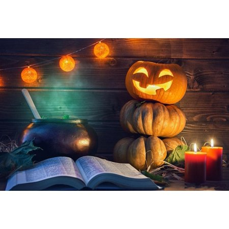 HelloDecor Polyster 7x5ft Photography Backdrop Wood Board Yellow Pumpkin Light Red Candle Photo Background Halloween Kids Party Photo Studio Prop](Halloween Photo Op Board)