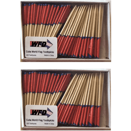 2 Boxes of Mini Cuba Toothpick Flags Stored and Shipped from USA, 200 Small Cuban Flag Toothpicks or Cocktail Sticks & Picks (Small Flags)