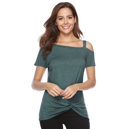 Short Sleeve Round Neck T-shirt (Fashion Blouses For Women Clearance Long Sleeve Round Neck Shirt Color Contrast Patchwork Tops Loose T-Shirt Tee)