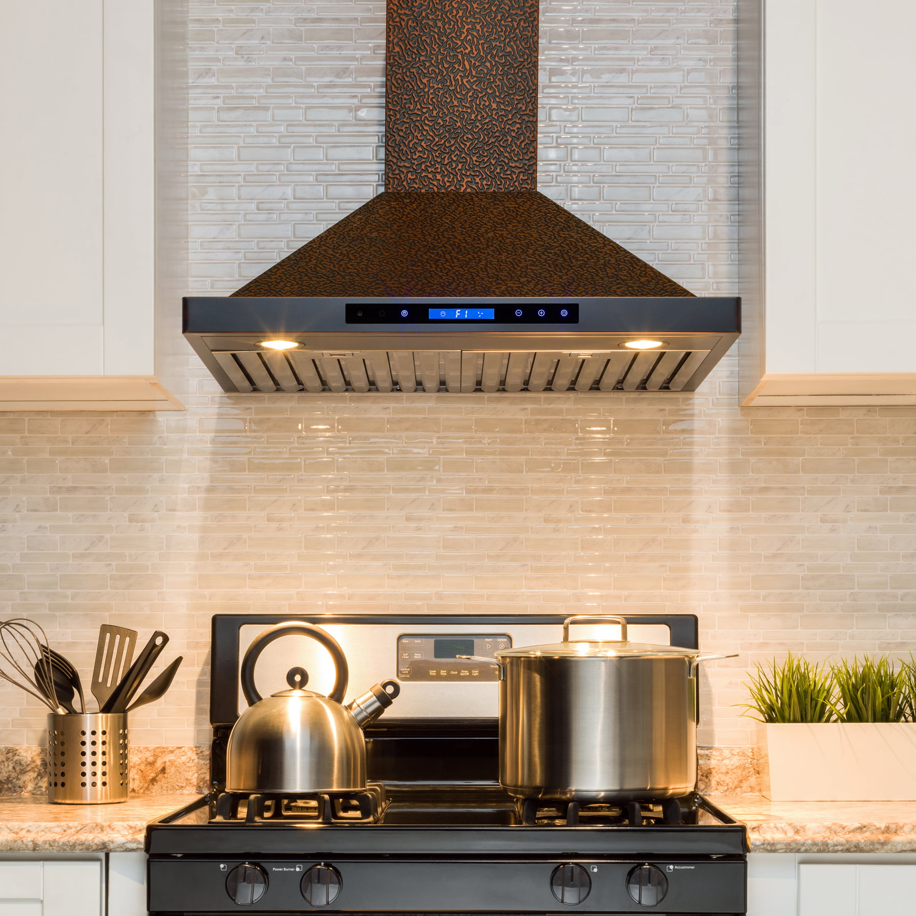 "AKDY 30"" Wall Mount Range Hood Embossed Copper 4 Speed Touch Control Fan  for Kitchen"