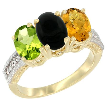 14K Yellow Gold Natural Peridot, Black Onyx & Whisky Quartz Ring 3-Stone Oval 7x5 mm Diamond Accent, sizes 5 - 10