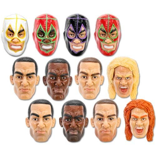 Set of All 12 Interchangeable Custom Wrestling Action Figure Heads