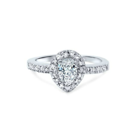 Genuine Pear Diamond Solitaire (1/2ct Pear Shape Natural Diamond Engagement Ring 14K White Gold Solitaire )