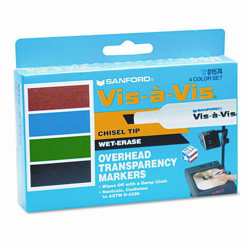 Sanford Ink Corporation Vis- -Vis Wet-Erase Overhead Projection Marker, Chisel Point, Assorted, 4/Set