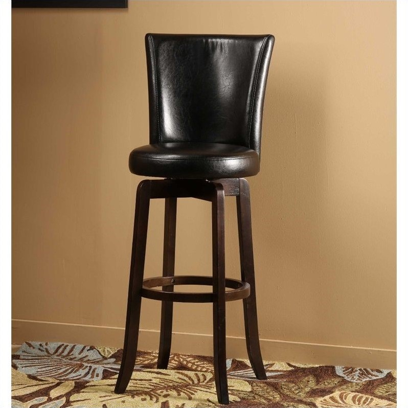 "Hillsdale Copenhagen 25"" Swivel Counter Stool in Black and Espresso"