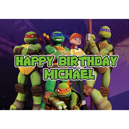 Ninja Turtles Birthday Cake Personalized Cake Topper Icing Sugar Paper A4 Sheet Edible Frosting Photo 1/4