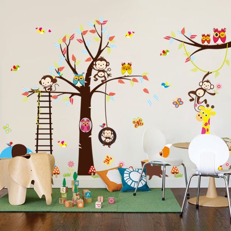 DIY Wall Sticker Removable Tree Swing Monkey Owl Butterfly Deer Elephant Ladder Colorful Art Decal Home Decor for Nursery Kids Children Mural Living