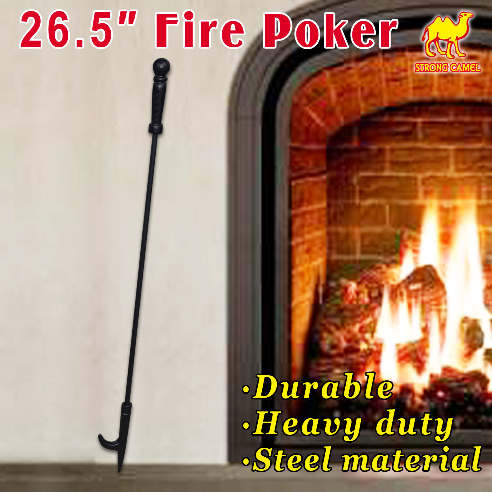 "Strong Camel Campfire Fireplace Fire Poker Tool Extra Long 26.5"", Black"