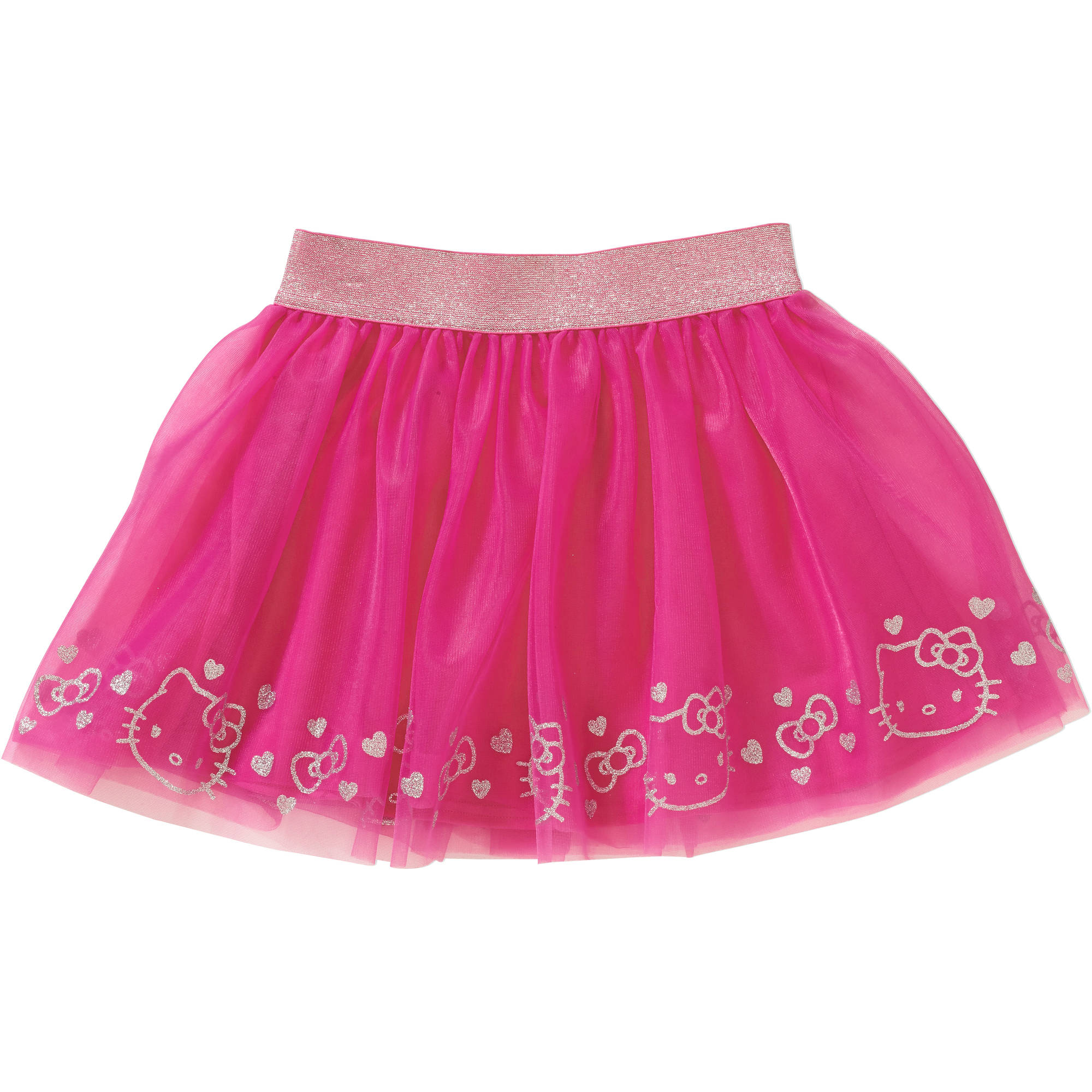 Hello Kitty Girls' Hello Kitty Border Print Tricot Mesh Skirt