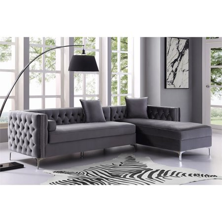 Groovy Levi Grey Velvet Chaise Sectional Sofa 115 Inches Right Facing Andrewgaddart Wooden Chair Designs For Living Room Andrewgaddartcom