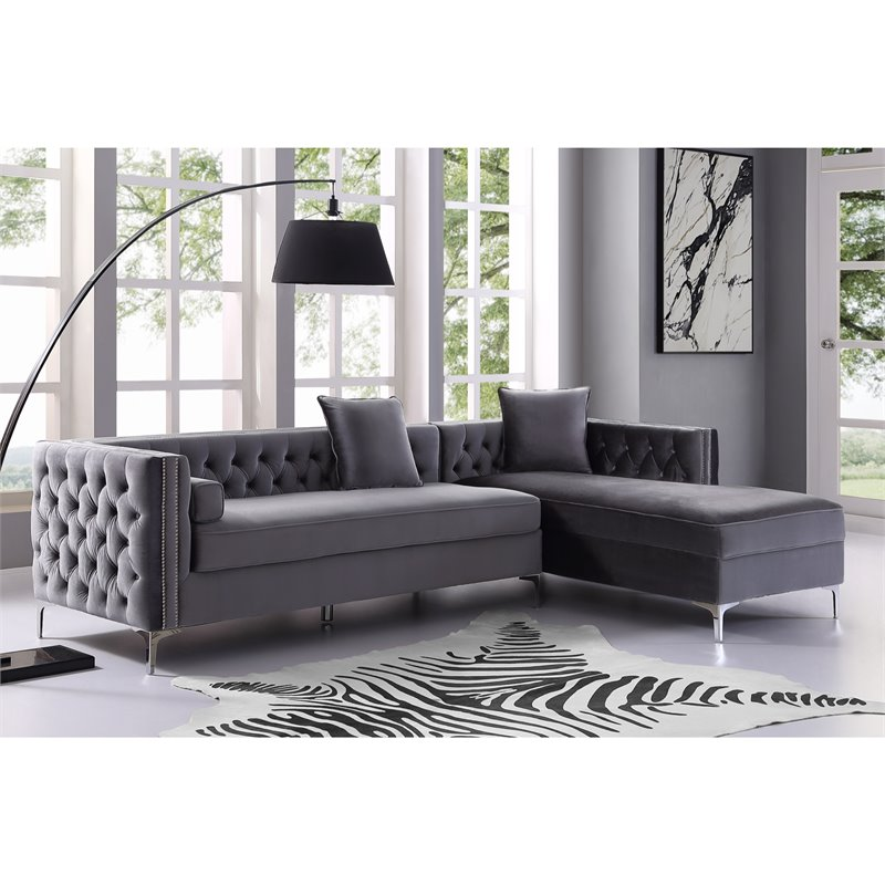 Levi Grey Velvet Chaise Sectional Sofa - 115 Inches Right Facing