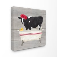 The Stupell Home Decor Collection Bath Time For Cows at Tub Red Black and Grey Painting Stretched Canvas Wall Art, 17 x 1.5 x 17