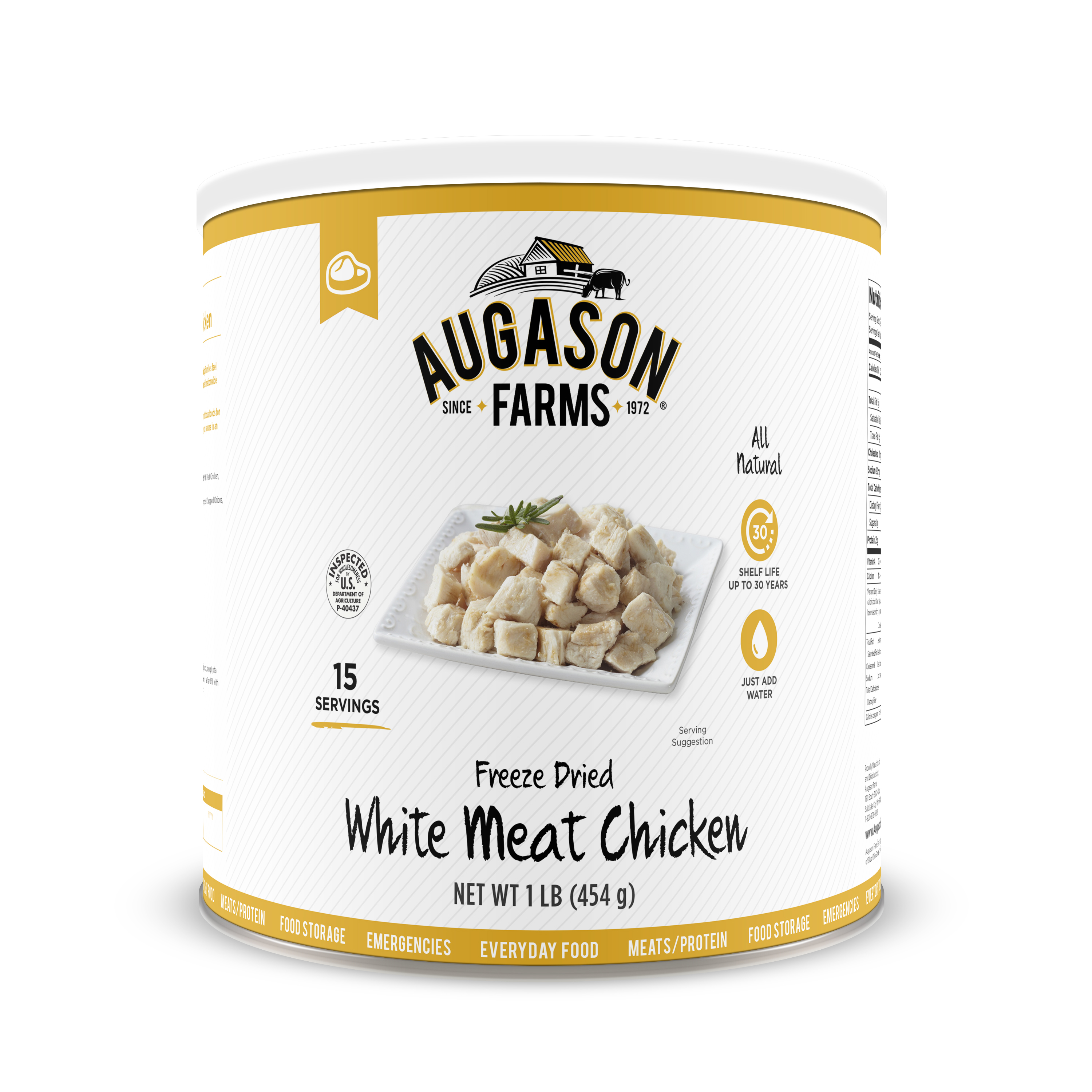 Click here to buy Augason Farms Emergency Food Freeze Dried Chicken Breast Chunks, 16 oz by Generic.