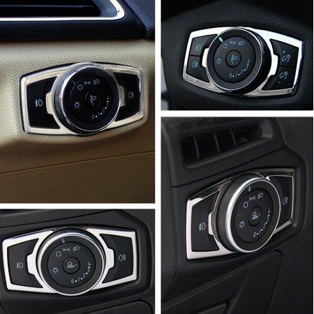 Chrome Interior Fog Headlight Switch Panel Cover Trim For 2015-2016 Ford - Fog Lamp Trim