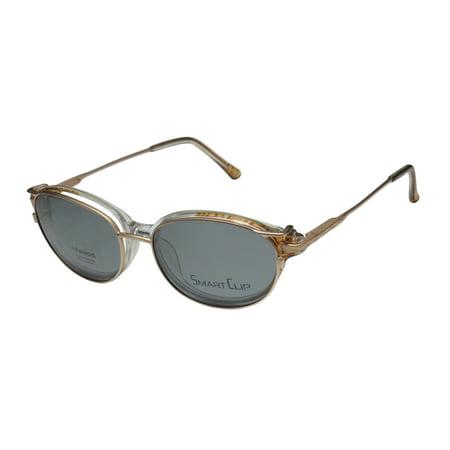 New Smartclip 425 Mens/Womens Designer Full-Rim Brown / Clear / Sand Polarized Clip-on Lenses By Polaroid Frame Demo Lenses 50-15-135 Sunglass Lens Clip-Ons Spring Hinges Eyeglasses/Eye (Sunglasses Clip Ons)