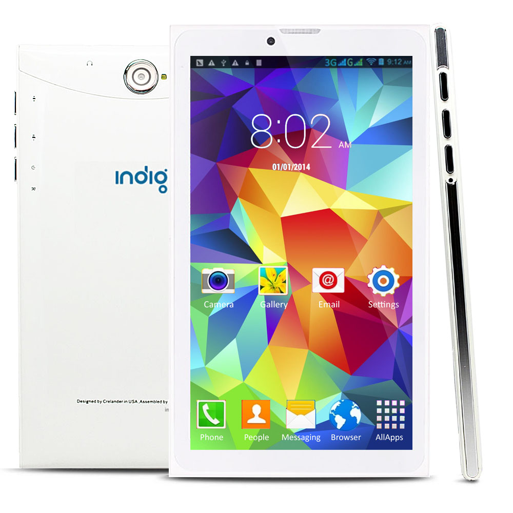"Indigi® 7.0"" Unlocked 3G Smart Cell Phone 2-in-1 Phablet Android 4.4 Tablet PC AT&T / T-Mobile (White)"