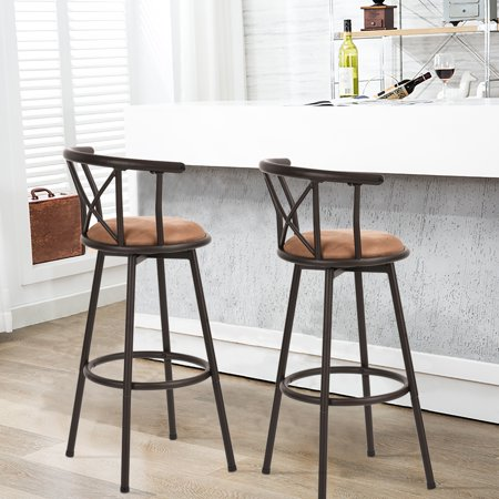 Furniture R Bar Stools Set of 2, Rotatable Back,Fabric Seat Metal Frame - image 1 of 8