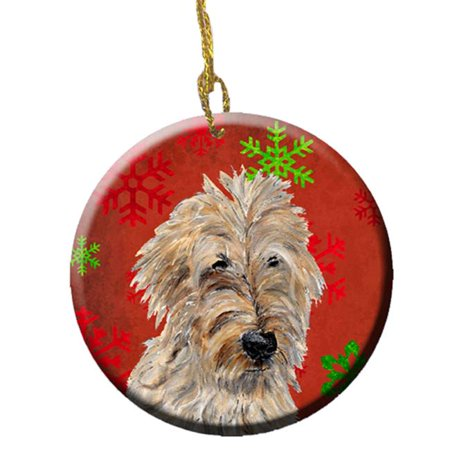 Holiday Doodles - Golden Doodle 2 Red Snowflakes Holiday Ceramic Ornament