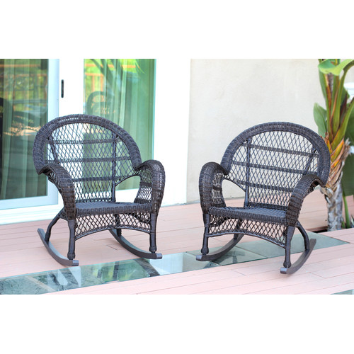 Jeco Inc. Wicker Rocker Chair (Set of 2)