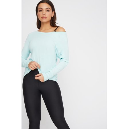Urban Planet Women's Soft Mesh Back Crewneck Active Long Sleeve - image 1 of 1