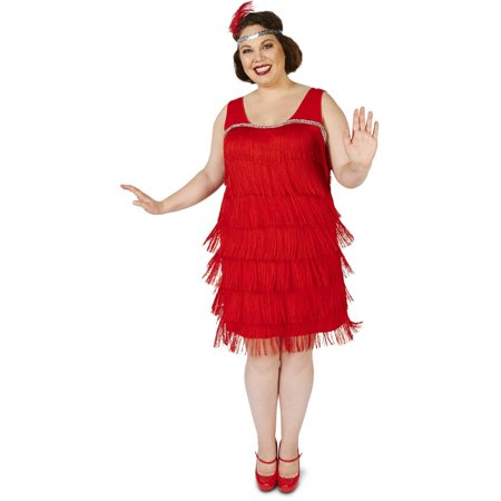 Roaring 20s Red Flapper Women's Plus Size Adult Halloween Costume
