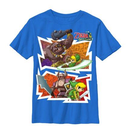 (The Legend of Zelda Spirit Tracks Fight Night Youth Royal Blue T-Shirt, Large)