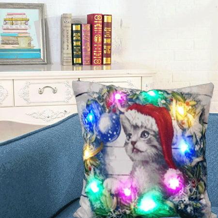 DZT1968 Christmas Lighting LED Cushion Cover Home Decor Throw Pillowcase Sofa Flashing](Christmas Bulletin Covers)