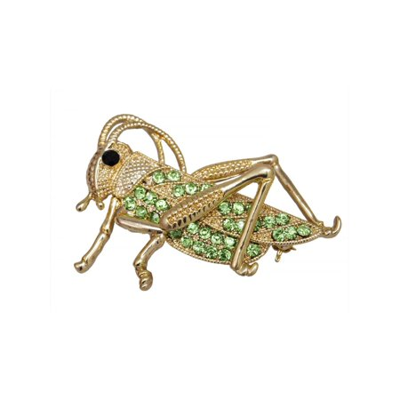 Feinuhan Womens Gold Tone Green Rhinestones Grasshopper Cricket Insect Brooch Pin