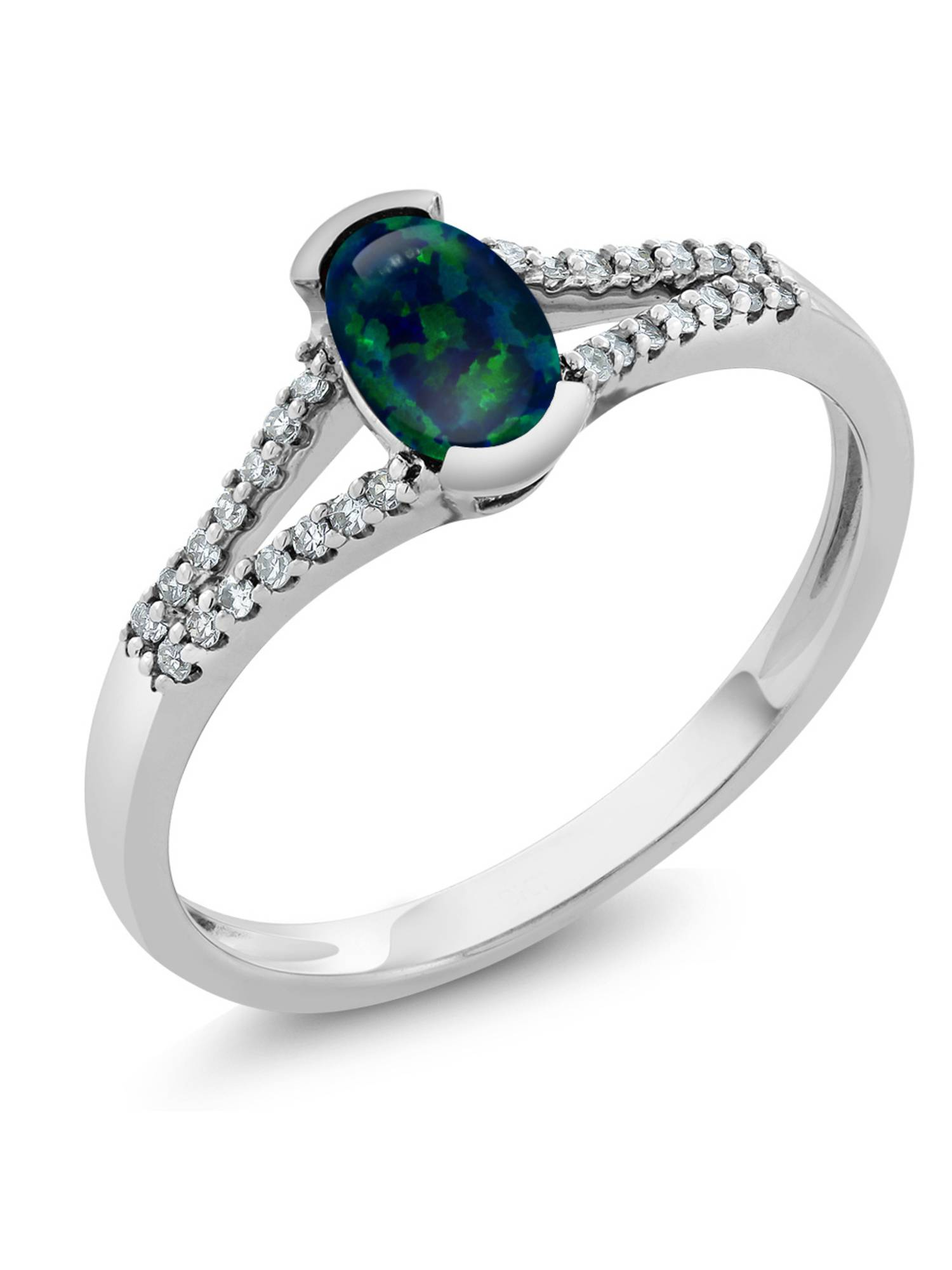 0.50 Ct Oval Cabochon Green Simulated Opal and Diamond 10K White Gold Ring by