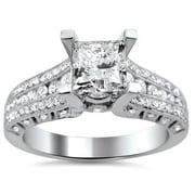 14k White Gold 1 1/2ct TDW Princess Cut Clarity Enhanced Diamond Engagement Ring (G-H, SI1-SI2) Size-10