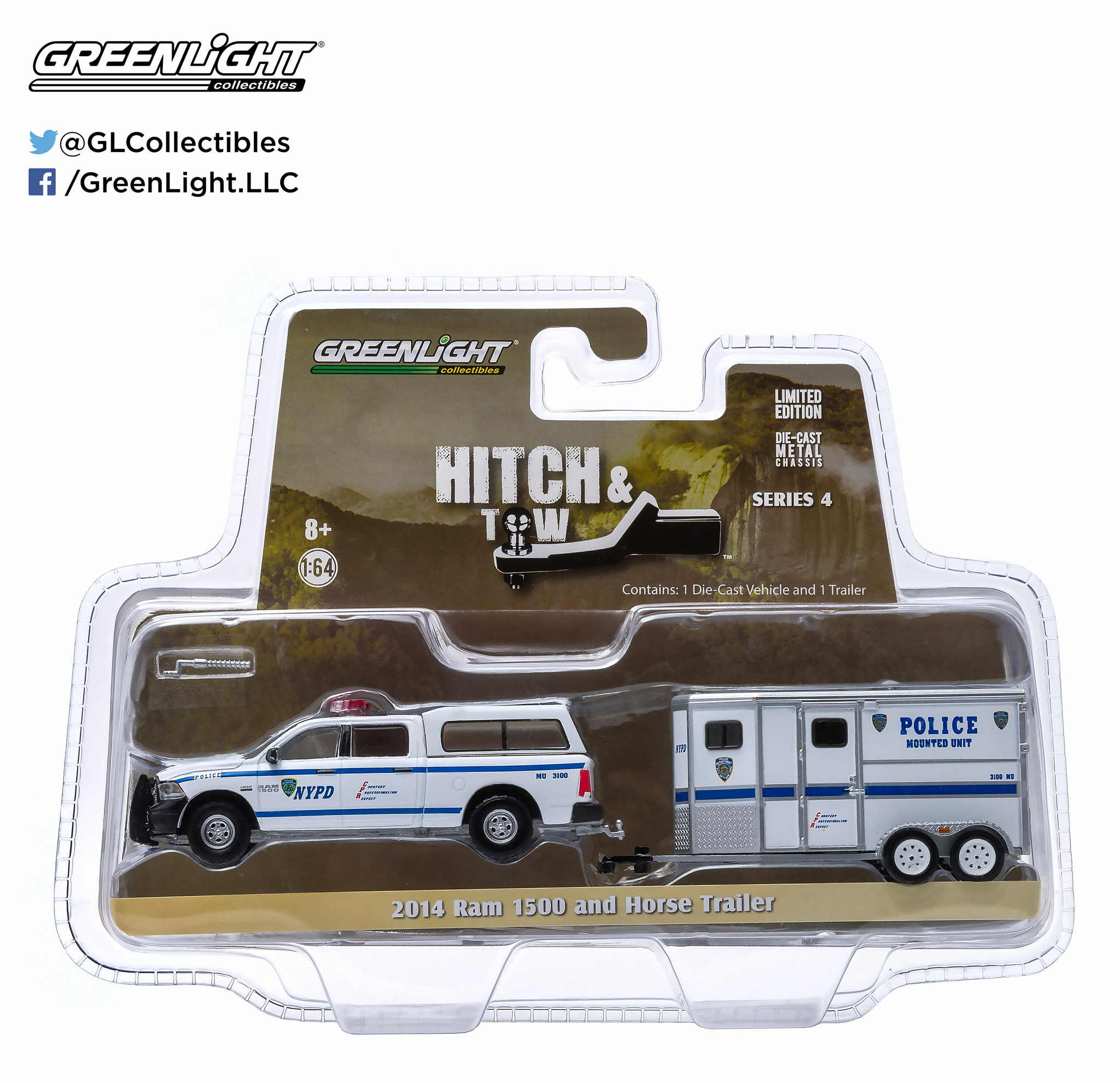 Greenlight 1:64 Hitch & Tow Series 4 2014 Ram 1500 NYPD & Horse Trailer