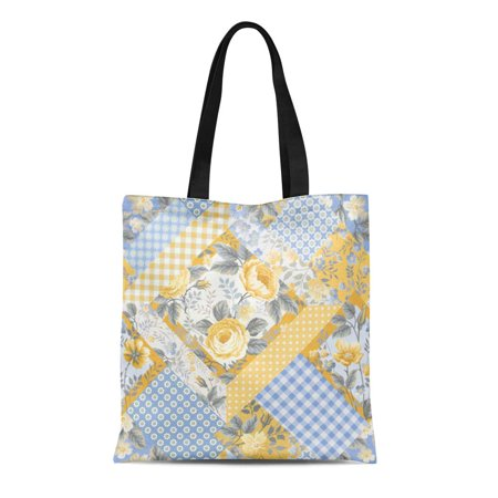ASHLEIGH Canvas Tote Bag Colorful Blossom Floral Patchwork Pattern Yellow Roses Brunch Check Reusable Shoulder Grocery Shopping Bags Handbag