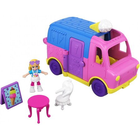 Polly Pocket Pollyville Ice Cream Truck with Polly Doll &