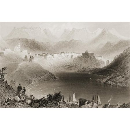 Clifden Connemara County Galway Ireland Drawn by Whbartlett Engraved by R Brandard From the Scenery & Antiqu Poster Print, 17 x 11 - image 1 de 1