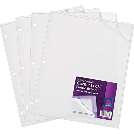 Avery Corner Lock 3-Hole Punched Plastic Sleeve, Pack of 4