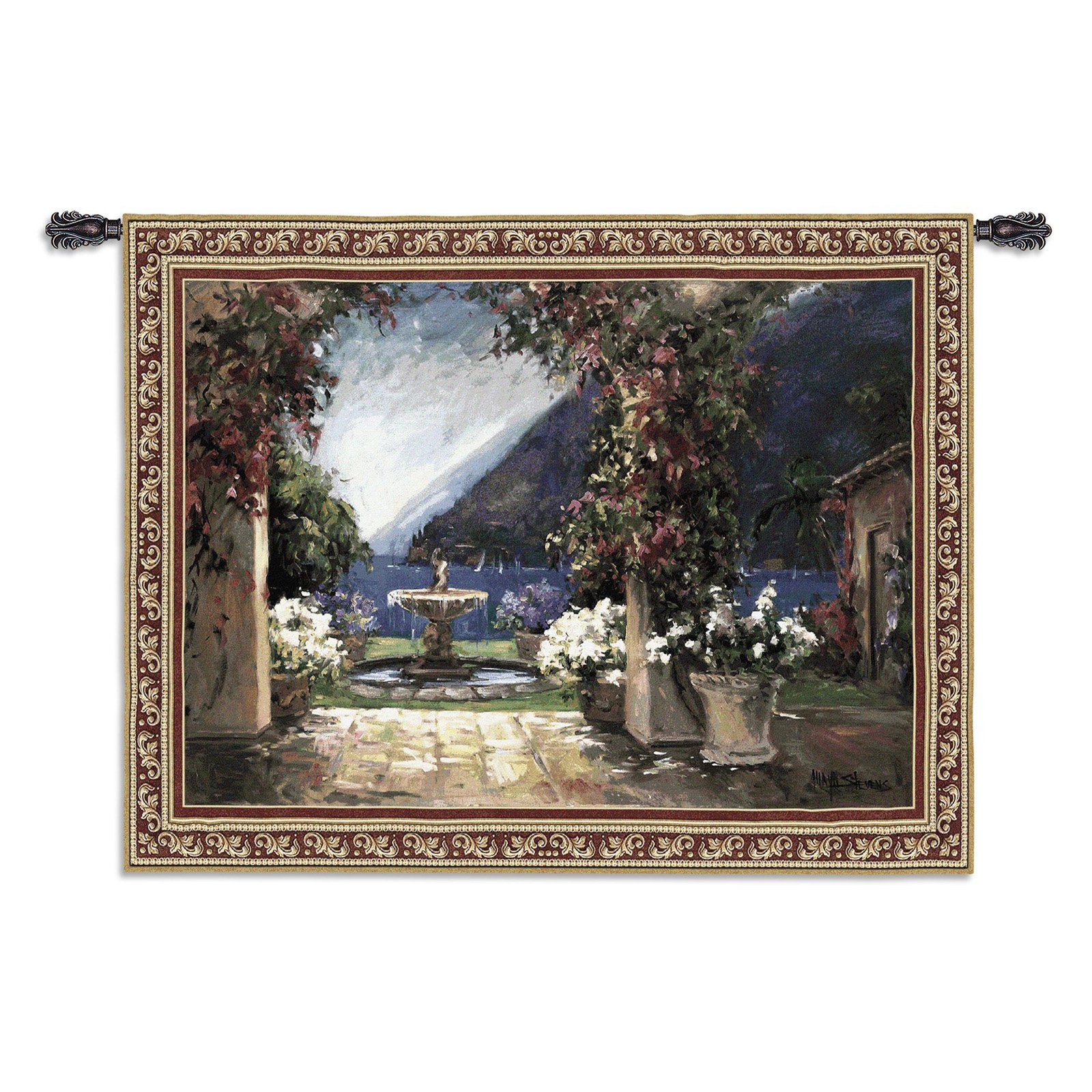 FineArtTapestries 2271-WH Seaside Fountain Large Wall Tapestry