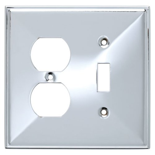 Brainerd Beverly Single Switch and Duplex Wall Plate, Chrome